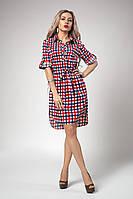 Стильное женское платье-рубашка в сине-красную клетку