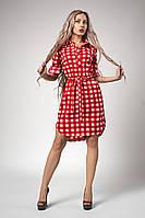 Женское платье-рубашка с поясом в красную клетку, фото 1