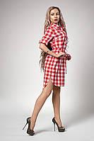 Платье-рубашка с удлиненной спинкой, светло-красная клетка
