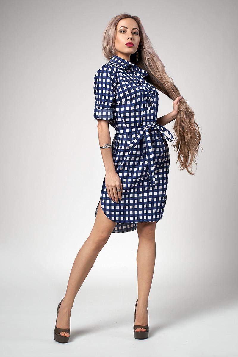 dd166759b6e Летнее женское платье-рубашка с поясом в мелкую синюю клетку ...