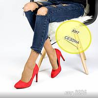 Красные туфли из эко-замши на среднем каблуке 37 размер