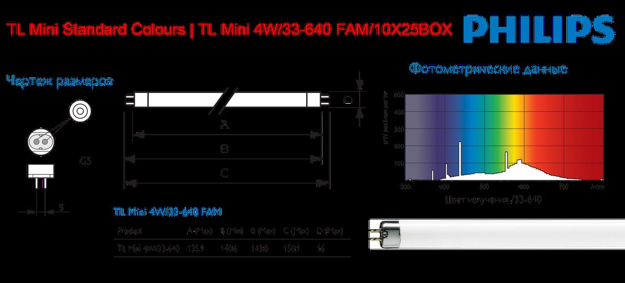 TL 8W/840 Philips, фото tl 4w/33-640