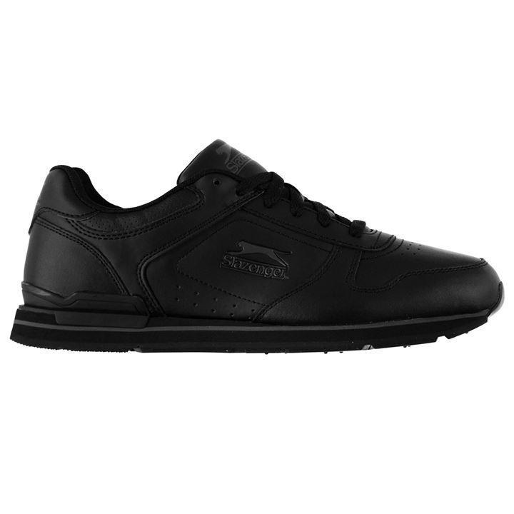 Мужские кожаные кроссовки Slazenger Classic черные оригинал TR0031