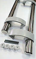 Ручка прямая 500 мм хром, кронштейн серебро RAL 9006., фото 1