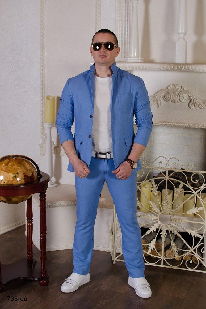 22fe9aa6e092 Выпускной стильный мужской костюм двойка пиджак+штаны лен размер: 42,44,46