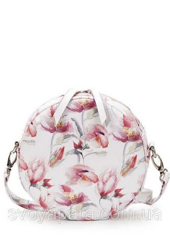 Женская сумка круглая из высококачественной экокожи белого цвета с цветами с одним основным отделением