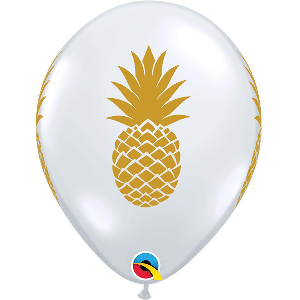 Прозрачный шар с золотым ананасом 30 см