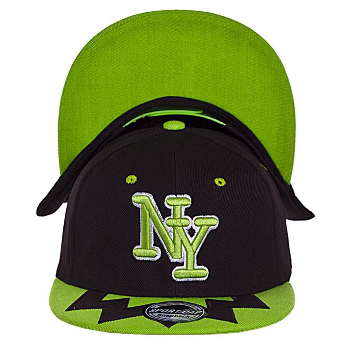 Бейсболка 56-58 цвет черный с зеленым козырьком