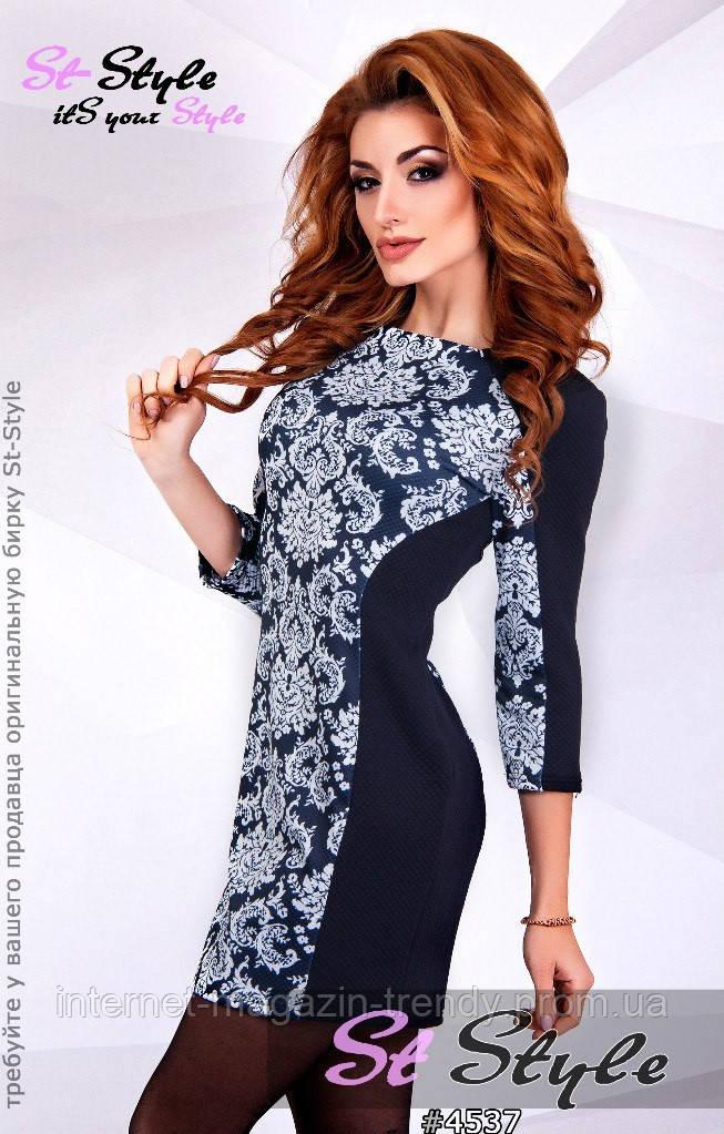 Платье мини с растительными узорами 4537