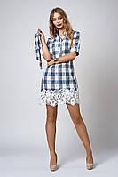 Женское платье-рубашка отделано кружевом макраме, синяя клетка, фото 1