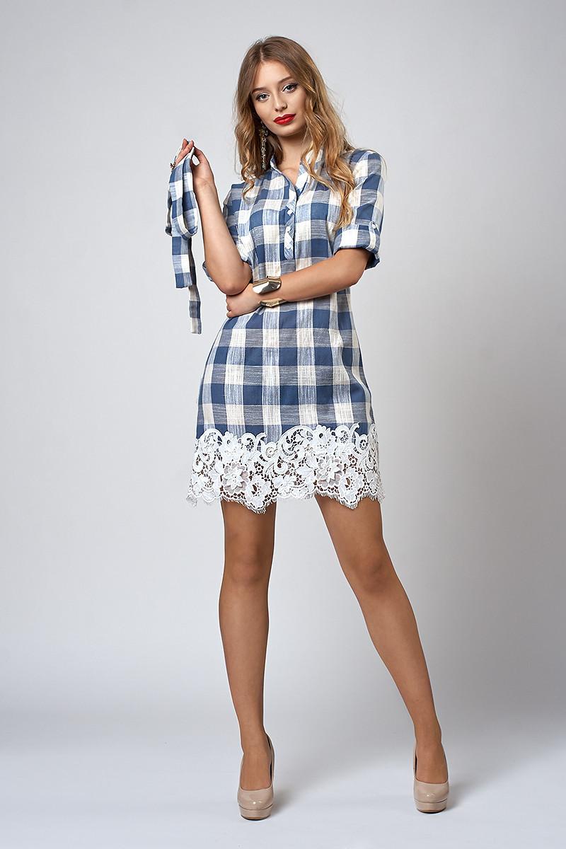 10b1be1c1c5255b Женское платье-рубашка отделано кружевом макраме, синяя клетка ...