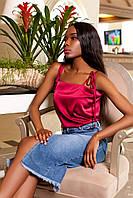 Эффектная Шелковая Блуза на Бретелях  Винная S-XL