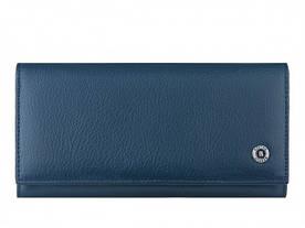 Оригинал! Вместительный женский кошелек на магнитах из натуральной кожи в синем цвете Бостон(BOSTON) b150-1bl