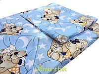 Постельный набор в детскую кроватку (3 предмета) Мишки спят голубой