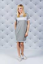 Женское платье на лето с карманами светло-серое, фото 2