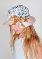 Шляпка Леонора с бантиком в пайетках цвет персик