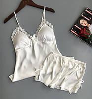 Пижама SilkTouch с шортами белая L (1002)
