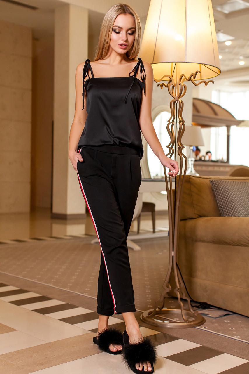 18f3380faf5 Эффектная Шелковая Блуза на Бретелях Черная S-XL - купить по лучшей ...
