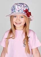 Летняя шляпка Леонора с розовым полем и красным бантиком