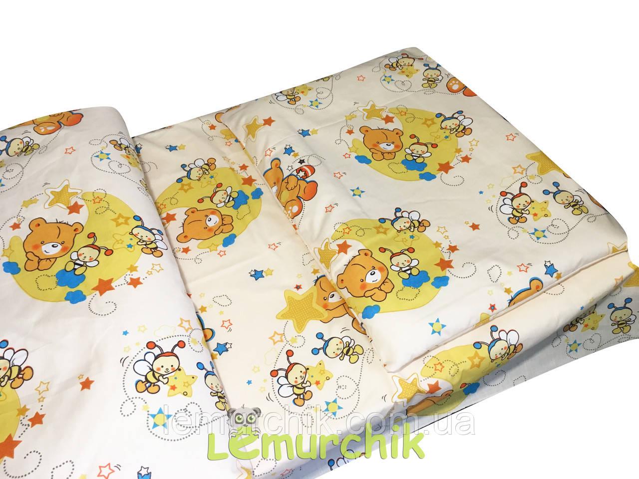 Постільний набір в дитячу ліжечко (3 предмета) Ведмедики бджілки бежевий