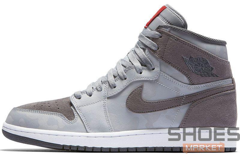 Баскетбольные кроссовки Nike Air Jordan 1 Retro High Premium Grey Camo -  Интернет-магазин обуви 382e585cab3