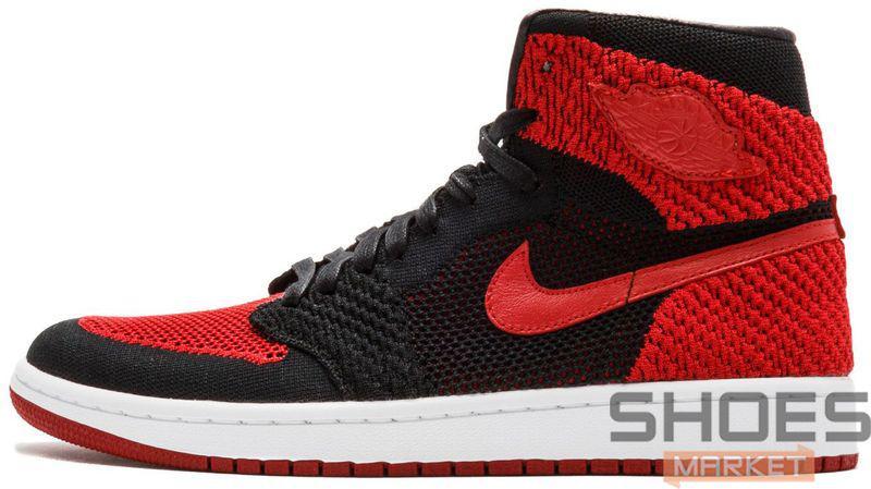 "59bf1890 Баскетбольные Кроссовки Nike Air Jordan 1 Retro Hi Flyknit ""Banned ..."