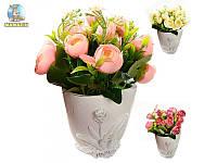 """Композиция из искусственных цветов """"Розы в мешочке"""""""