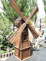 Садовый декор Мельница ветряная деревянная, фото 1