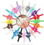 Детская повязка цвета пудры - окружность 36-58см, бант 8см, фото 2