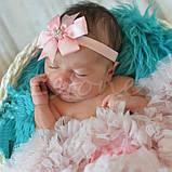 Детская повязка цвета пудры - окружность 36-58см, бант 8см, фото 3