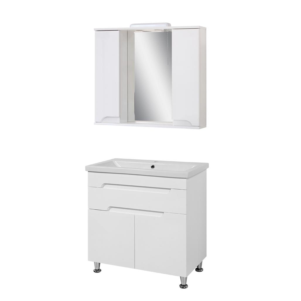 Комплект мебели для ванной комнаты Симпл-Белый 80-14-80-04 с зеркалом ПИК