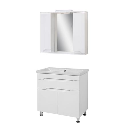 Комплект мебели для ванной комнаты Симпл-Белый 80-14-80-04 с зеркалом ПИК, фото 2