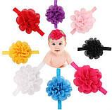 Повязка для девочек на голову желтая - размер универсальный (на резинке), цветок 10,5см, фото 2