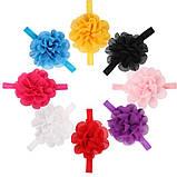 Повязка для девочек на голову желтая - размер универсальный (на резинке), цветок 10,5см, фото 3