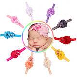 Повязочка на голову детская малиновая - декор 9см, размер универсальный (на резинке), фото 4