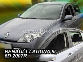 Дефлекторы окон (ветровики)  Renault Laguna III 2007-> 5D 4шт (Heko)