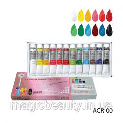Набор акриловых красок Lady Victory ACR-00 12 цветов в тубе по 12 мл