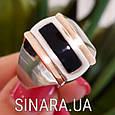 Мужской серебряный перстень - Мужское кольцо с ониксом серебро, фото 3