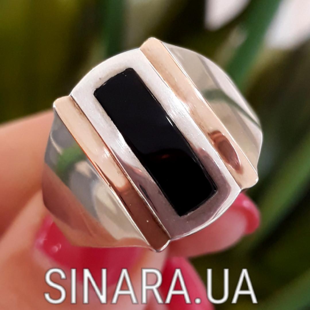 Мужской серебряный перстень - Мужское кольцо с ониксом серебро