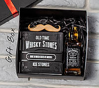 """Мужской подарочный набор """"Stones''. Подарок мужчине (Виски, Камни для виски, Усы)"""