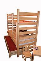 Двух ярусная подростковая кровать + дополнительная вставная кровать!!!