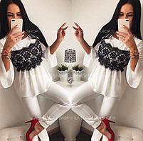 Женская блузка из креп-шифона со вставкой кружева