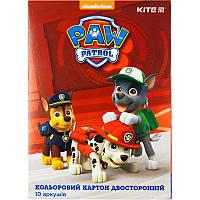 PAW18-255 Картон цветной двусторон. А4 (10лист/10цвет) KITE 2018 Paw Patrol 255, фото 1