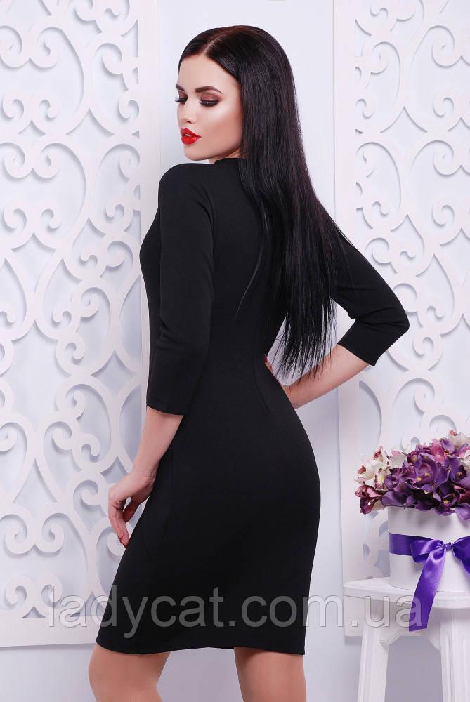5607d3c15bd Молодежное черное платье футляр с рукавом три четверти