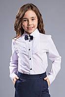 """Школьная белая блуза с брошью  """"Ирен"""".116-146р."""