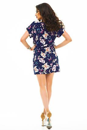 Платье 413 с кулиской синие бабочки и цветы, фото 2
