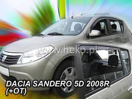 Дефлекторы окон (ветровики)  Renault Sandero 2008->  5D 4шт (Heko)