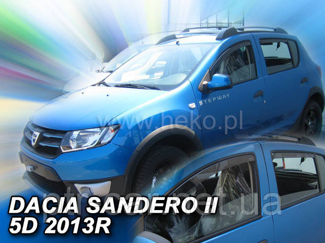 Дефлекторы окон (ветровики)  Renault SANDERO/STEPWAY II 2012R-> 5D 4шт (Heko)