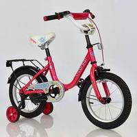 """Велосипед 14"""" дюймов 2-х колёсный  """"CORSO"""" РОЗОВЫЙ, ручной тормоз, звоночек, сидение с ручкой"""