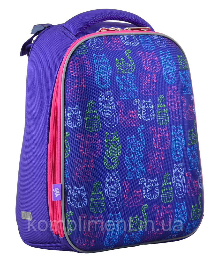 Ранец школьный жестко-каркасный для девочки H-12 Kotomaniya blue, 38*29*15 , YES